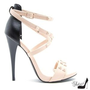 Greyson Nude and Black Strappy Studded Heels